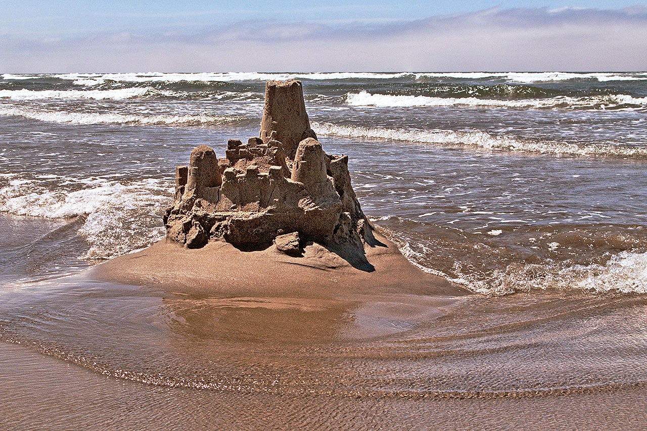 A sand castle at Cannon Beach, Oregon.
