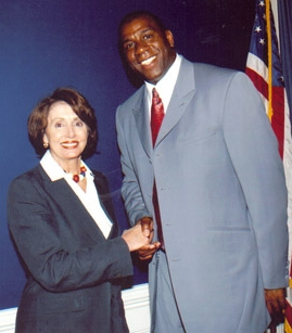 Magic Johnson (with Nancy Pelosi)