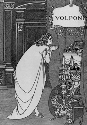 An illustration for an 1898 edition of Volpone...