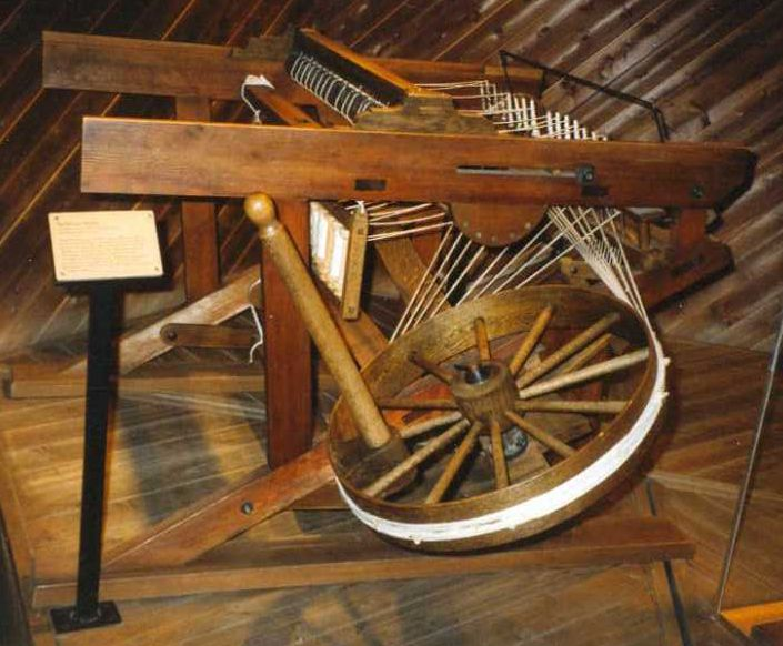Model of the spinning machine of the XVIII century. from the museum in Wuppertal, Germany.