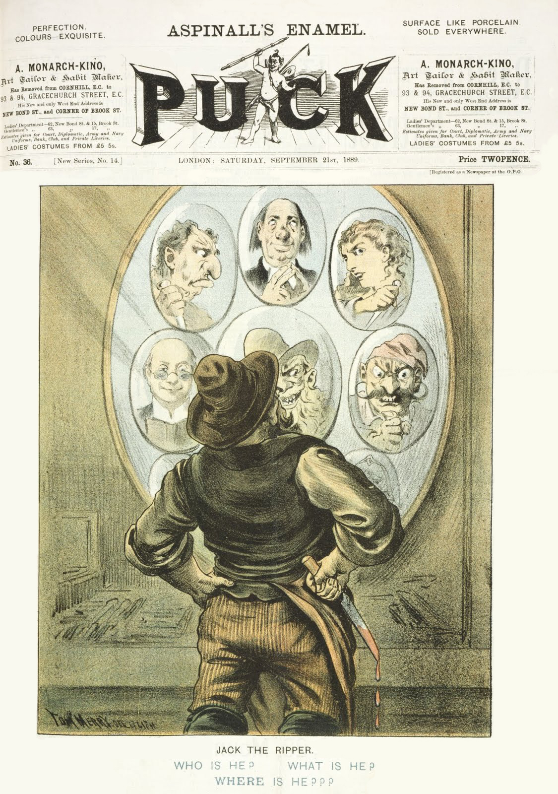 The cover of the 21 September 1889 issue of Puck magazine, featuring cartoonist Tom Merry's depiction of the unidentified Whitechapel murderer Jack the Ripper.