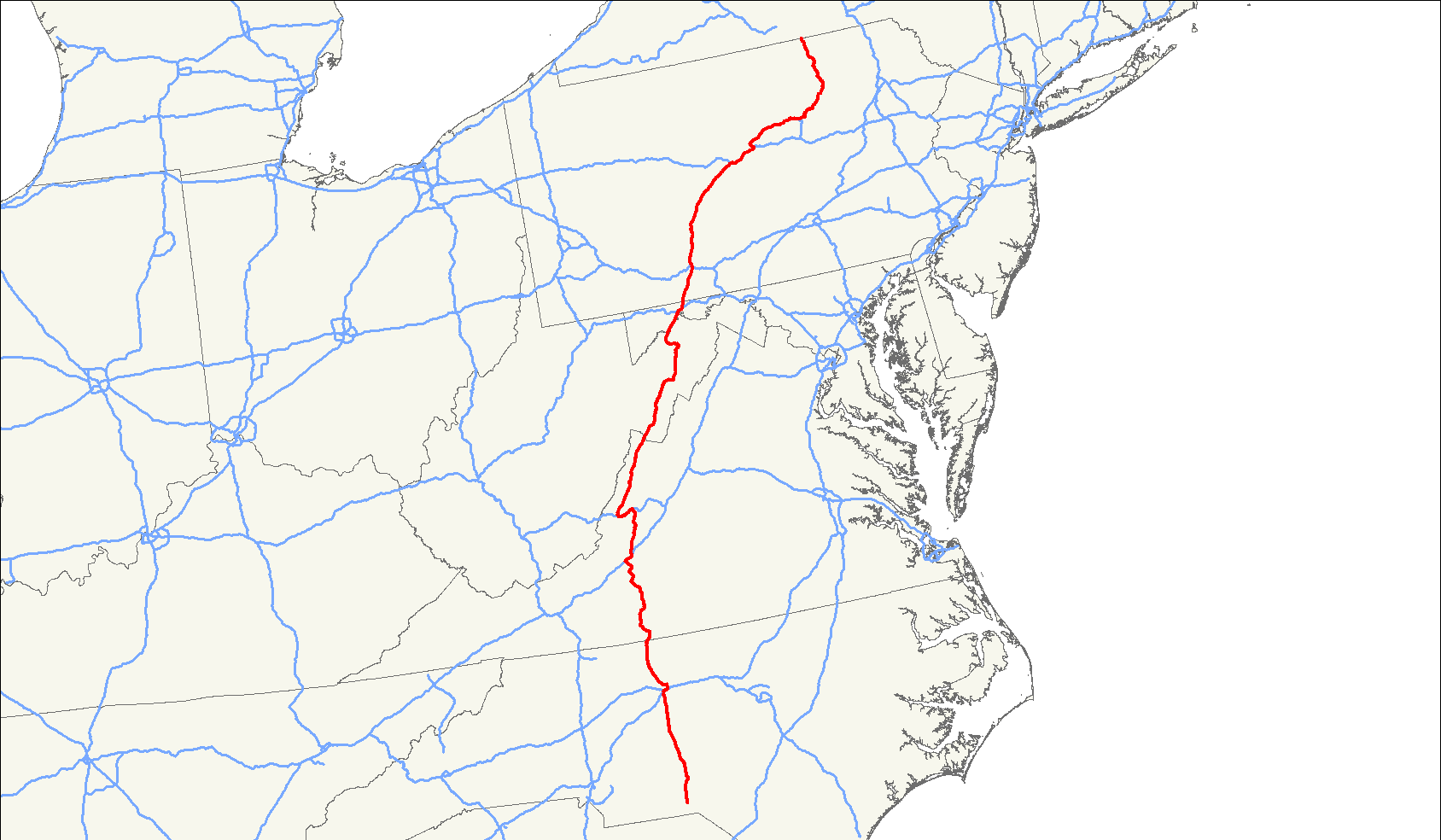 Map Highway 40 I