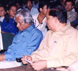 English: Then ISRO chief G. Madhavan Nair with APJ