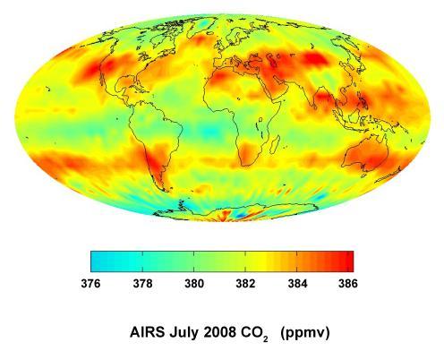 """Global carbon dioxide AIRS - Diese Datei ist gemeinfrei (public domain), da sie von der NASA erstellt worden ist. Die NASA-Urheberrechtsrichtlinie besagt, dass """"NASA-Material nicht durch Urheberrecht geschützt ist, wenn es nicht anders angegeben ist"""". (NASA-Urheberrechtsrichtlinie-Seite oder JPL Image Use Policy)."""