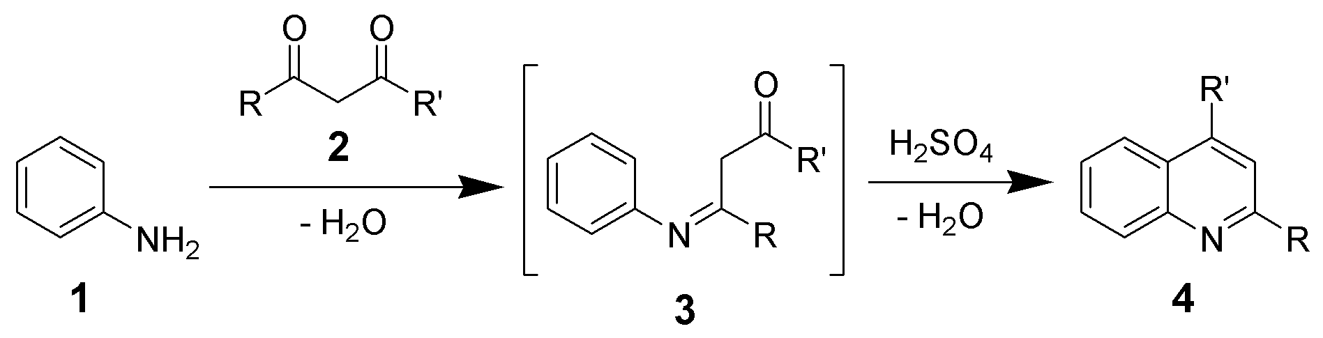 This shows the reaction for the synthesis of the Quinoline Ring, indicating the structure with the lowest potential energy and thus the most stability.