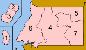 A clickable map of Equatorial Guinea exhibiting its two regions and seven provinces.