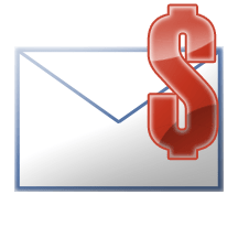 English: An email envelope with a US dollar icon.
