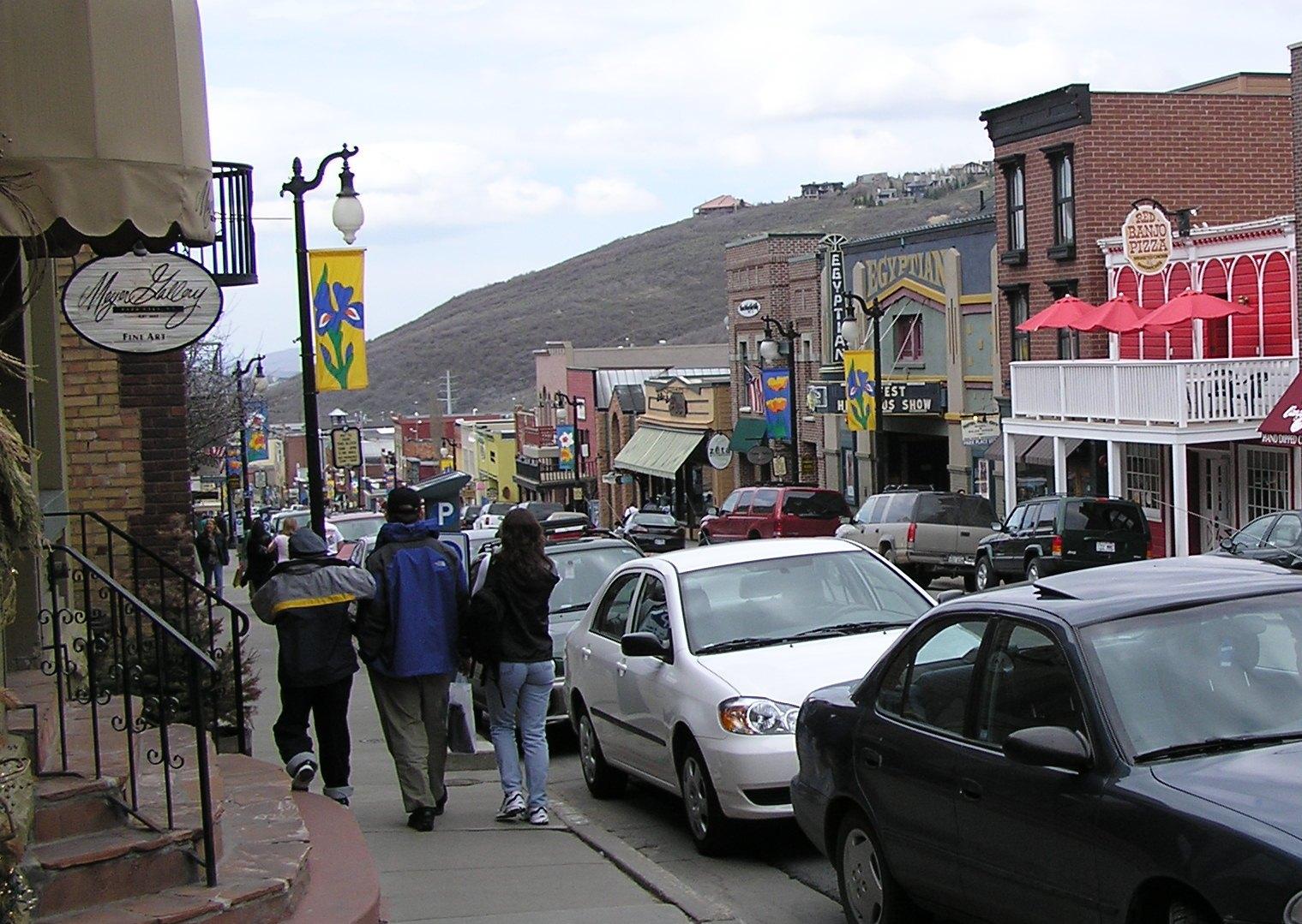 Looking down main street in Park City, Utah, USA