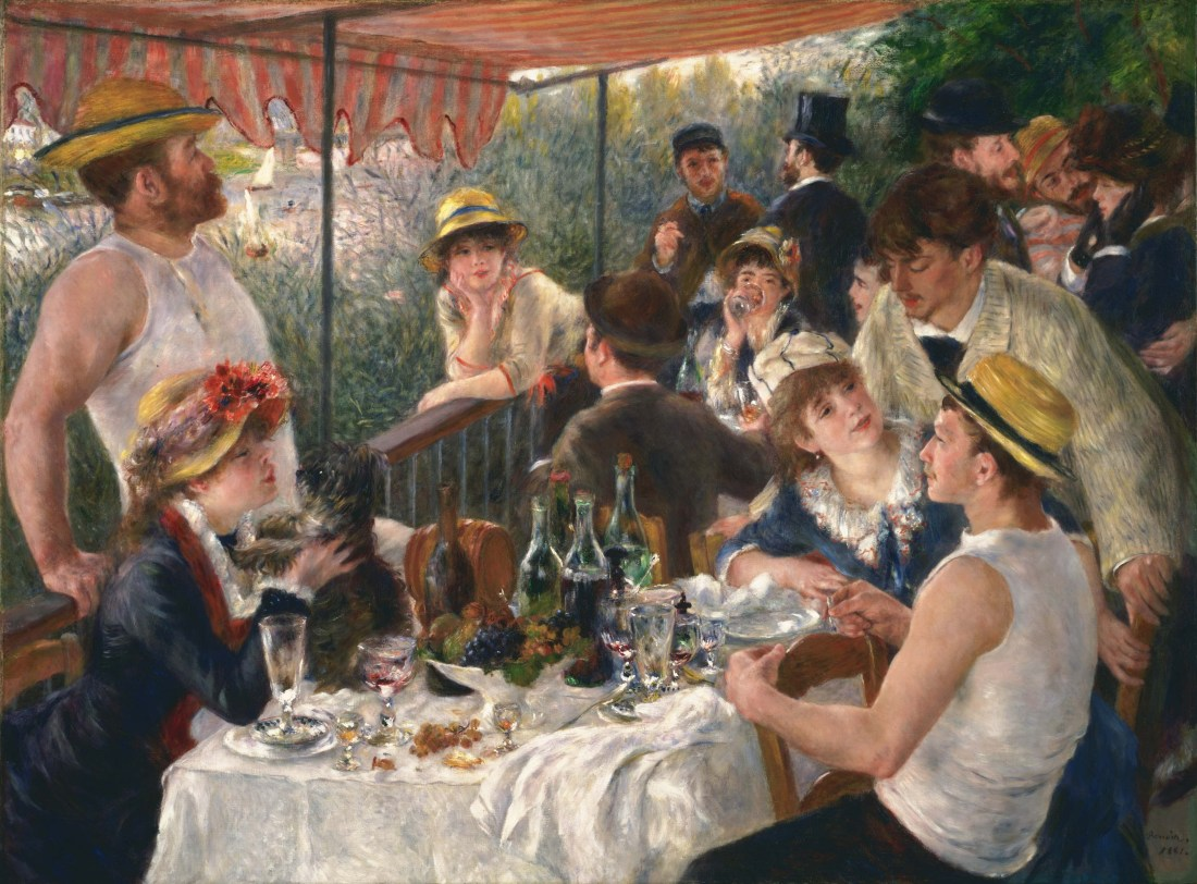 Pierre-August Renoir's Luncheon of the Boating People. Renoir's faces are always the jolliest, aren't they? I'd like an invite to this picnic.