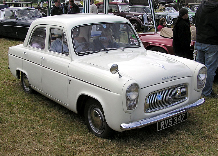 This is a Ford Prefect 100E from 1959. The heater was an optional extra, and 0-60mph took 32 seconds