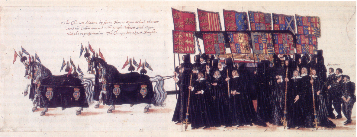 At her funeral on 28 April, the coffin was taken to Westminster Abbey on a hearse drawn by four horses hung with black velvet