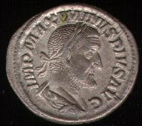 A Roman denarius, a standardized silver coin.