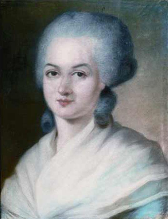 Detail of Kucharski's portrait of Olympe de Gouge