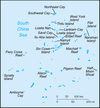 Map of the Spratly Islands, located in the South China Sea.