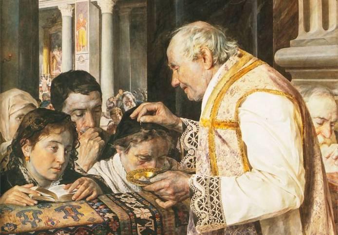 Mercoledì delle Ceneri, acquerello di Julian Fałat, 1881.