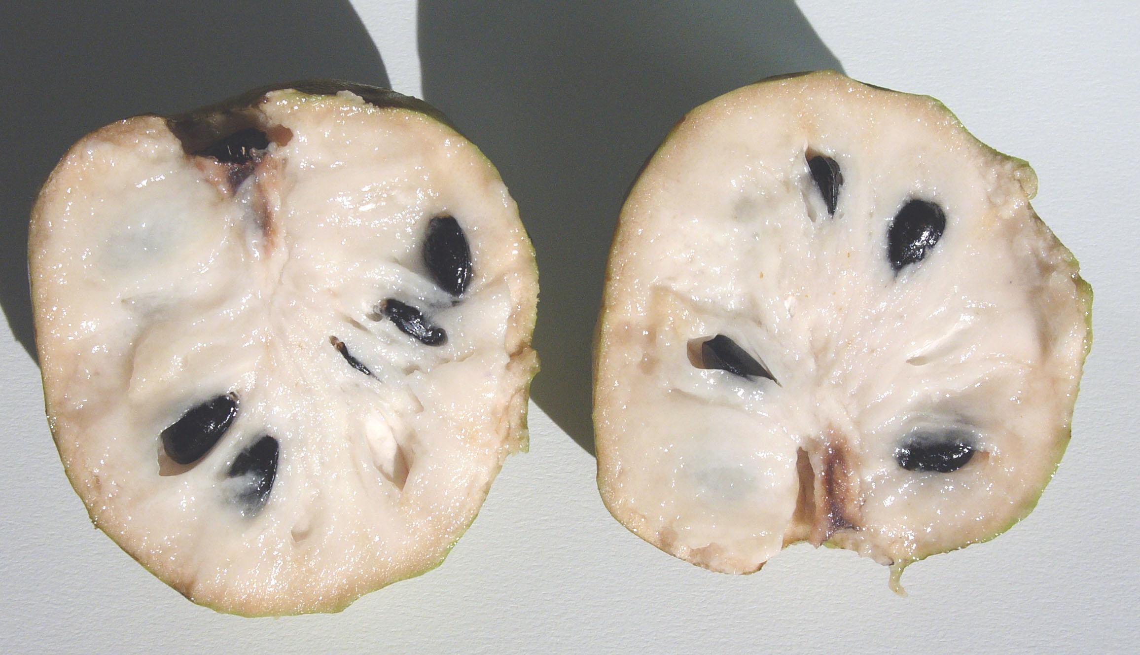 Cherimoya cut in half