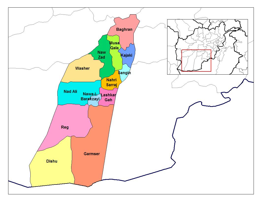 Mappa della provincia di Helmand