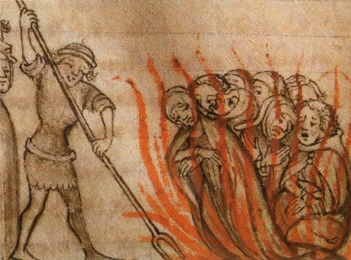Templar Knights being burned at the stake from Wikipedia