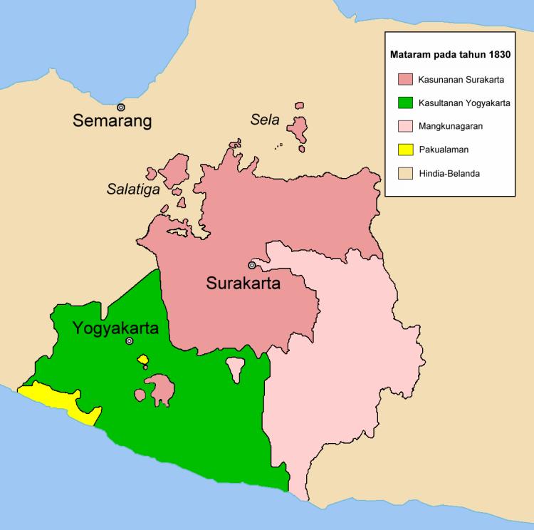 Peta Kerajaan-kerajaan Jawa Pewaris Mataram Islam pada 1830.