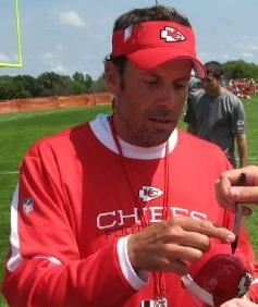 Kansas City Chiefs head coach Todd Haley at su...