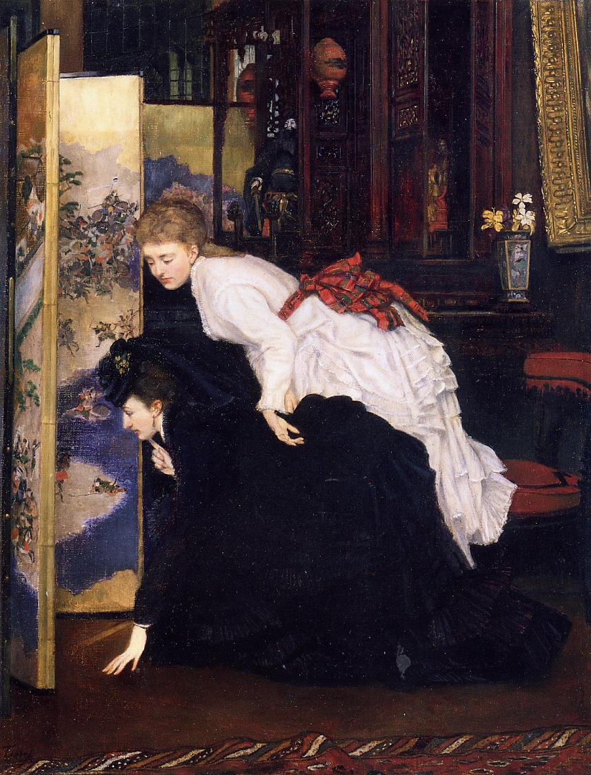 Jeunes femmes regardant des objects japonais, by James Tissot. Oil on canvas, 24 by 19 in. (60.96 by 48.26 cm). Private Collection. (Photo: Wikipedia.org)