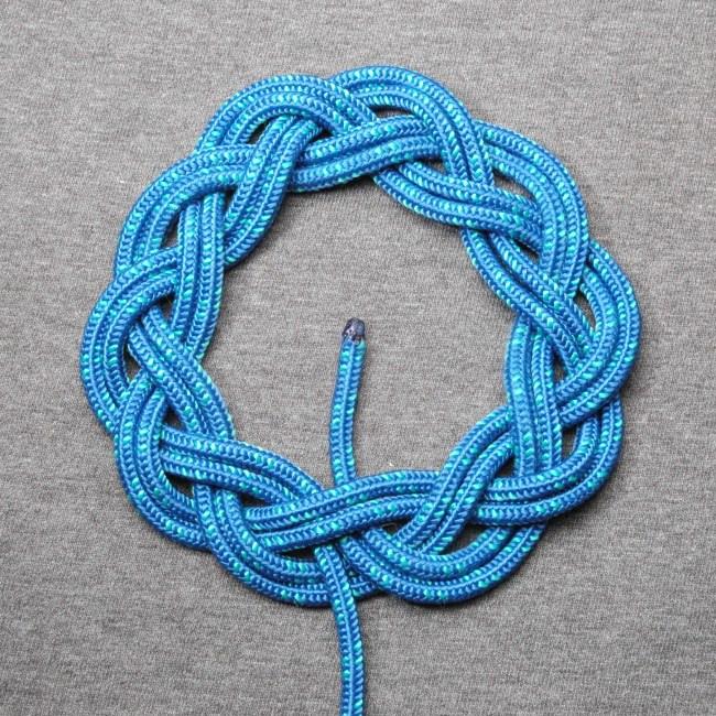 A 3-lead, 10-bight Turk's head knot, doubled