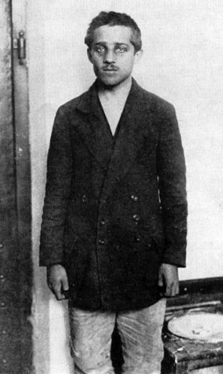 Gavrilo Princip after several months in prison Theresienstadt.