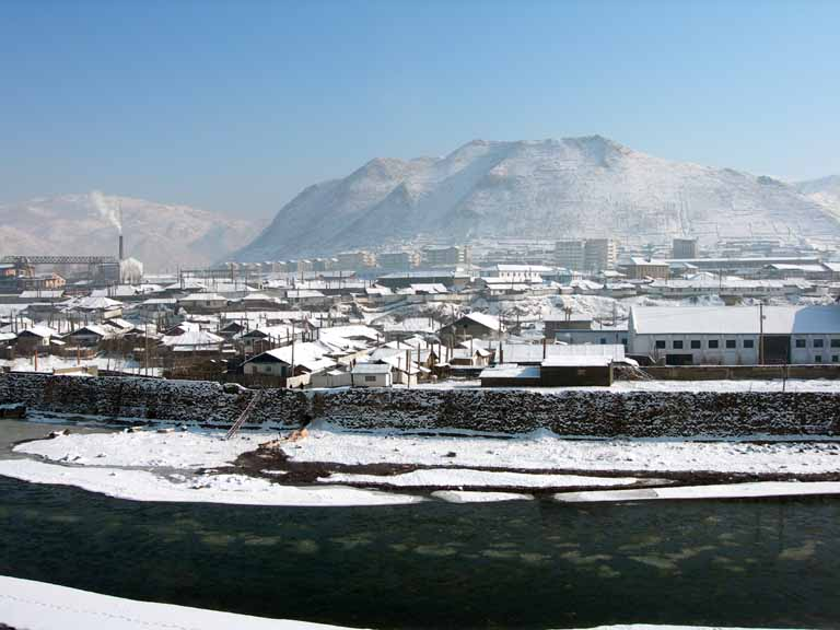 Hyesan, seen from a faux-marble faux-Tang dynasty style pleasure boat on land in the Chinese city of Changbai (photo courtesy Wikimedia)