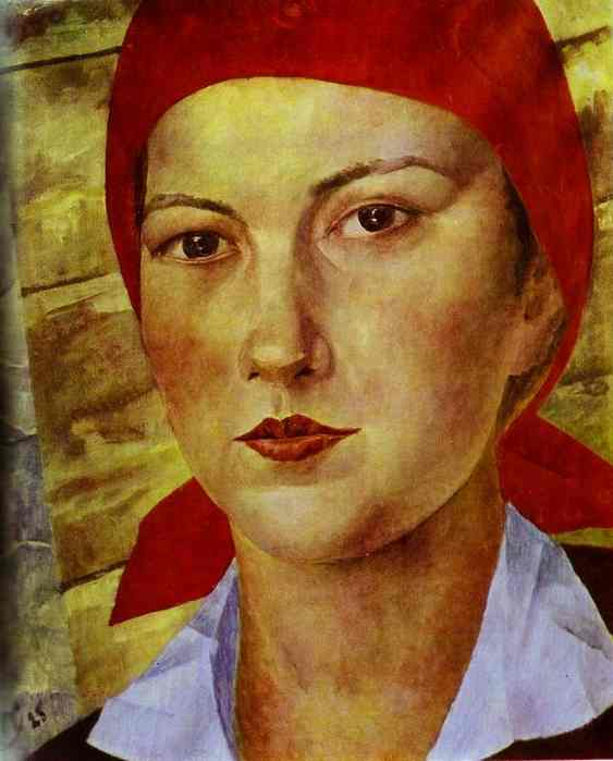"""Girl in red headscarf"" - Petrov Vodkin"