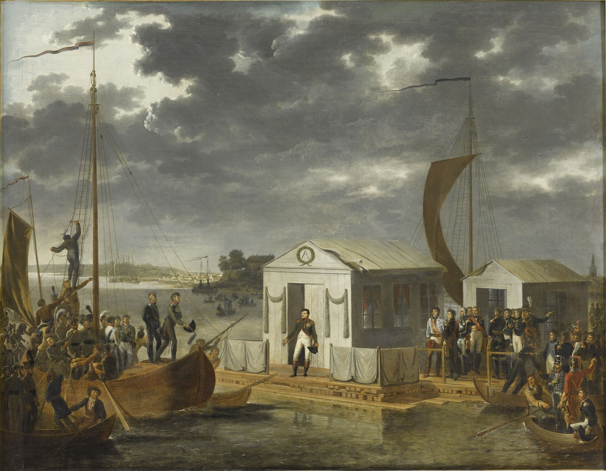 The Treaties of Tilsit: Napoleon meeting with Alexander I of Russia on a raft in the middle of the Neman River.
