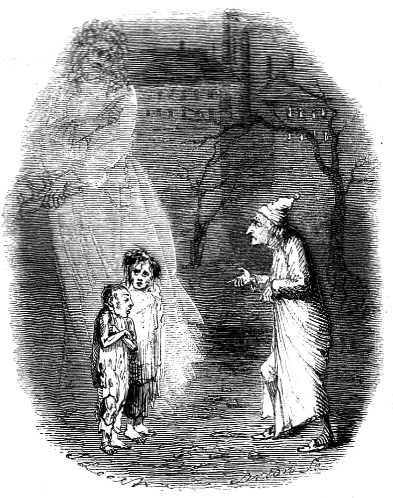 Scrooge meets Ignorance and Want, the products of his stinginess (drawing by John Leech, 1809-1870)