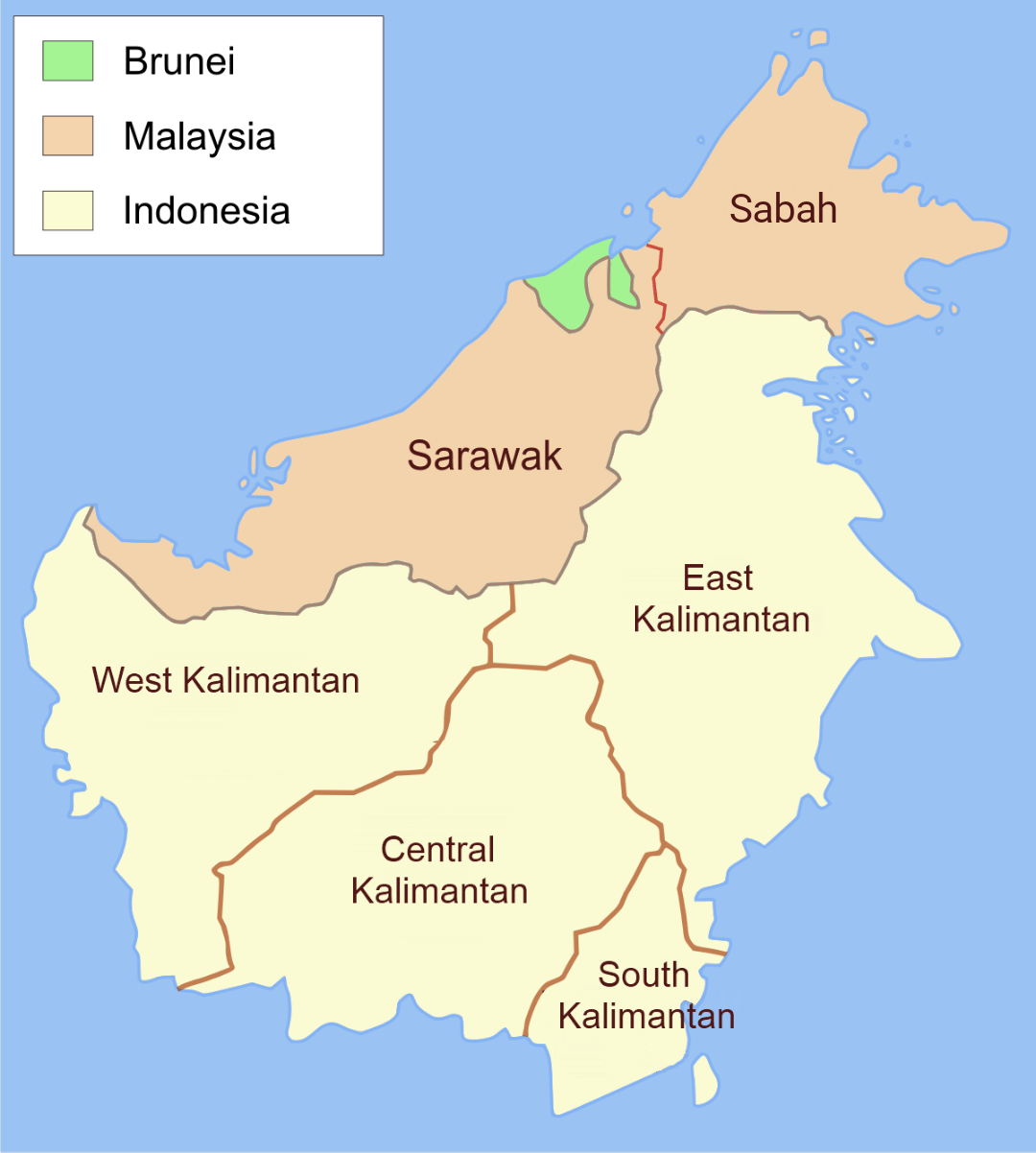 Image result for map of countries on borneo