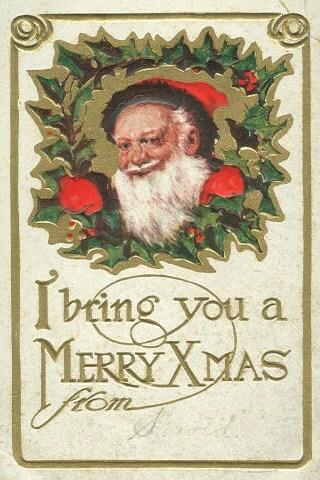 English: Christmas postcard picture with Santa...
