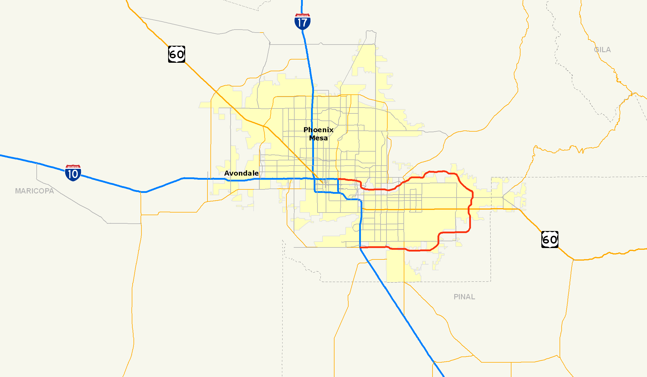 Phoenix Freeway System Map