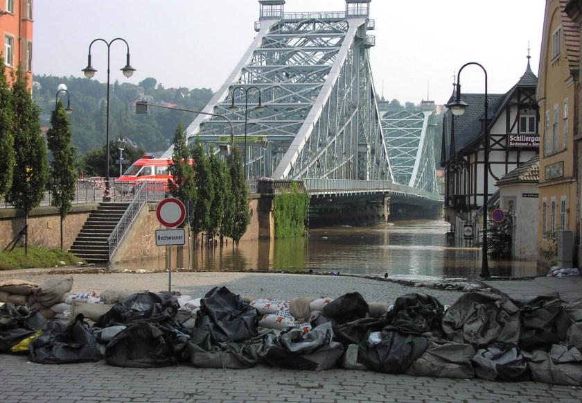 17.8.2002: Elbhochwasser am Blauen Wunder