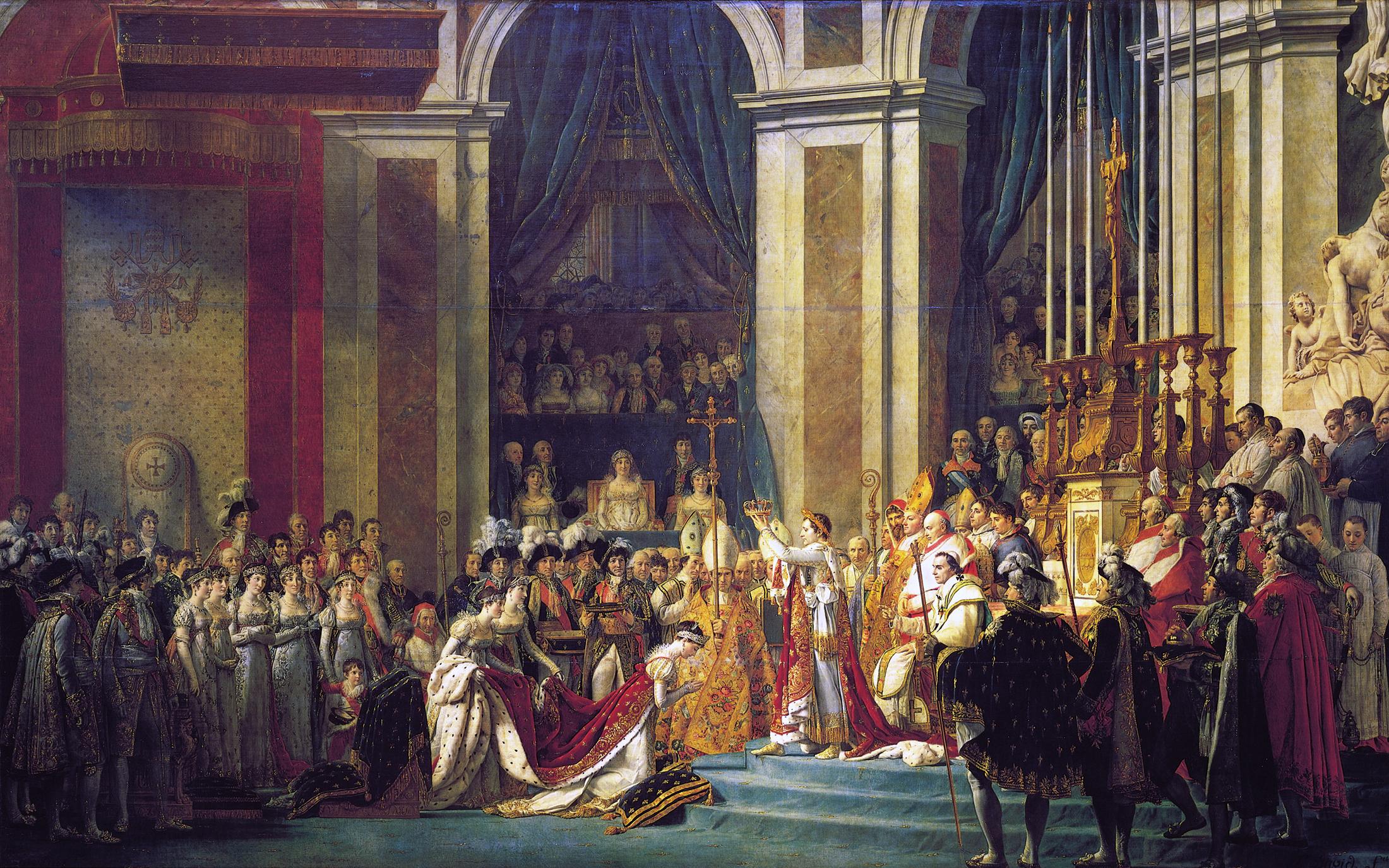 Le Sacre de Napoléon, de Jacques-Louis David – Cette scène montre le moment où Napoléon prend des mains de Pie VII la couronne impériale pour en coiffer sa femme l'impératrice Joséphine.