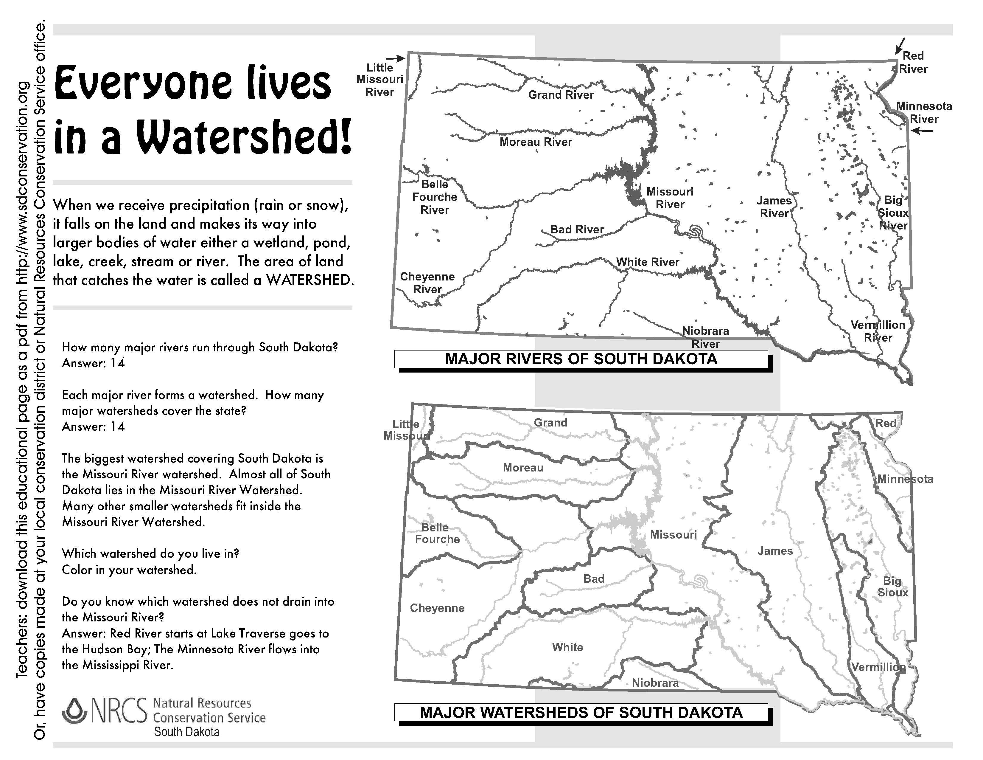 File South Dakota Watersheds Worksheet Answers