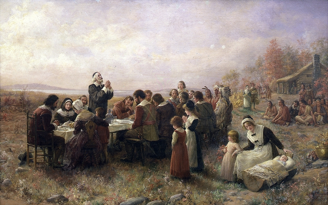 "[""The First Thanksgiving at Plymouth"" (1914) By Jennie A. Brownscombe]"