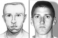 An FBI sketch is shown on the left of the image on the suspected bomber looking forward, and on the right, an image of McVeigh looking at the camera. Two brown bars are visible on the top and bottom of the comparison image.