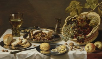 Claesz, Pieter - Tabletop Still Life with Mince Pie and Basket of Grapes - 1625