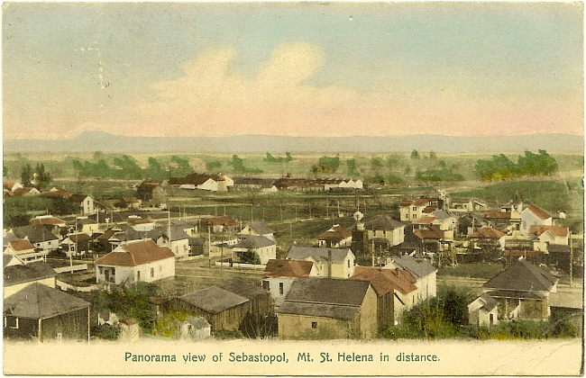 Postcard picture showing panoramic view of Seb...