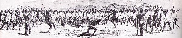 Skethch of a Zulu Dance at the Royal Kraal of King Shaka by Nathaniel Isaacs in 1836