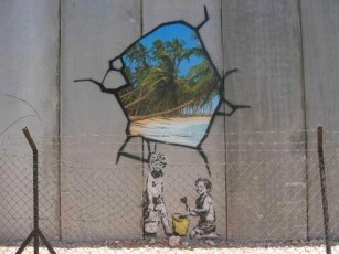 Bethlehem, 2005. Banksy imagines digging through the security fence and finding paradise.