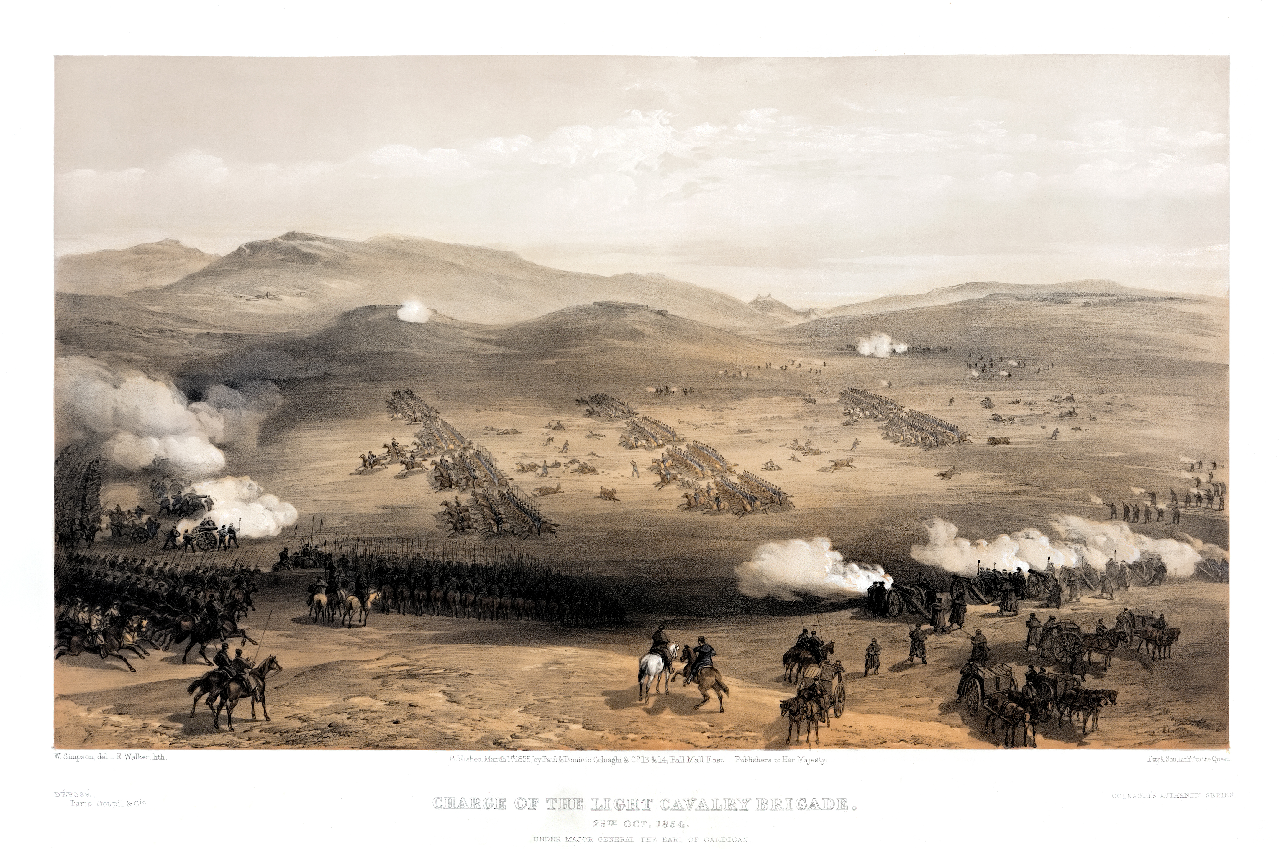 The Charge of the Light Brigade at Balaklava by William Simpson (1855)