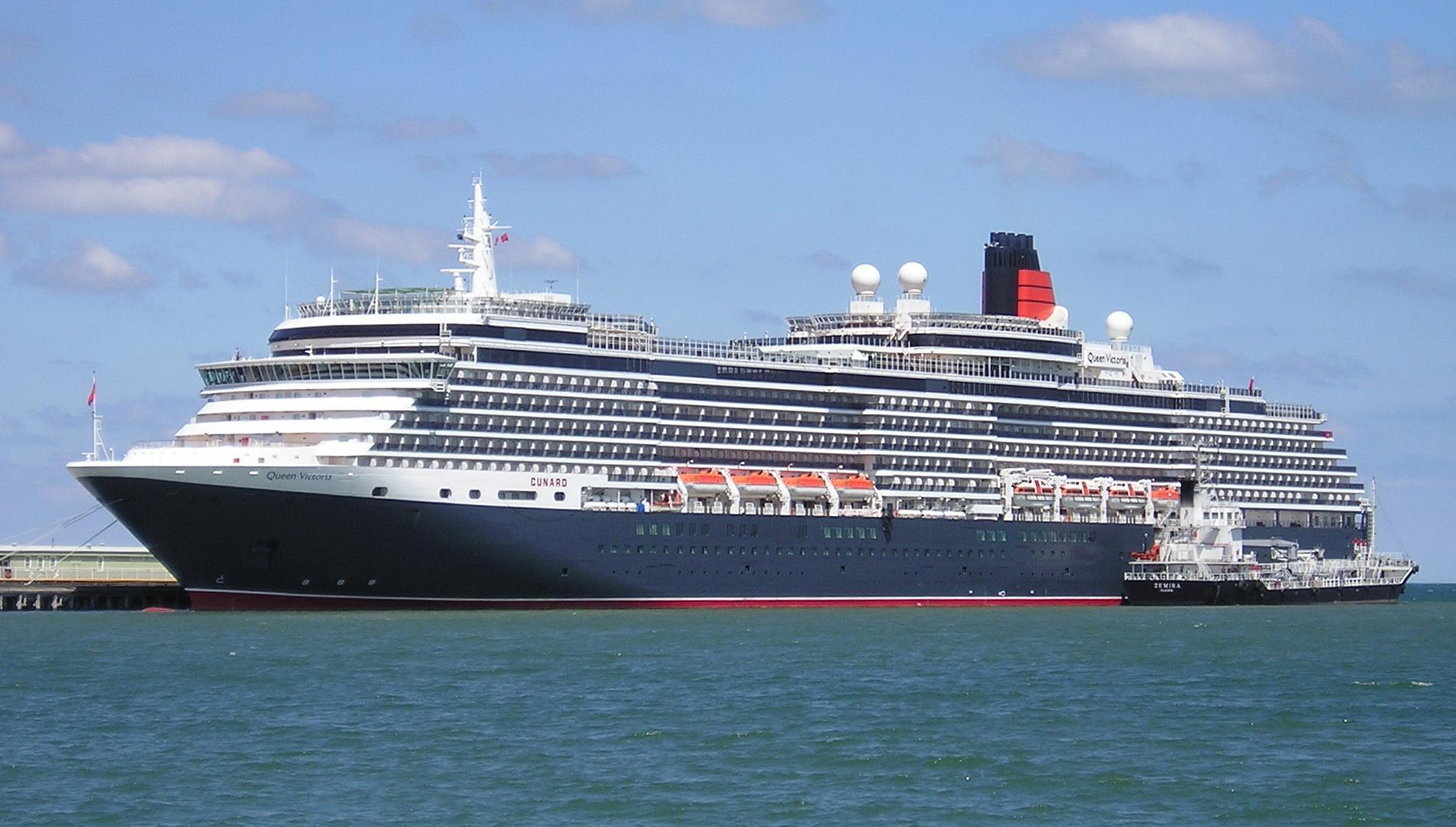 Cunard ship Queen Victoria at Station Pier Mel...