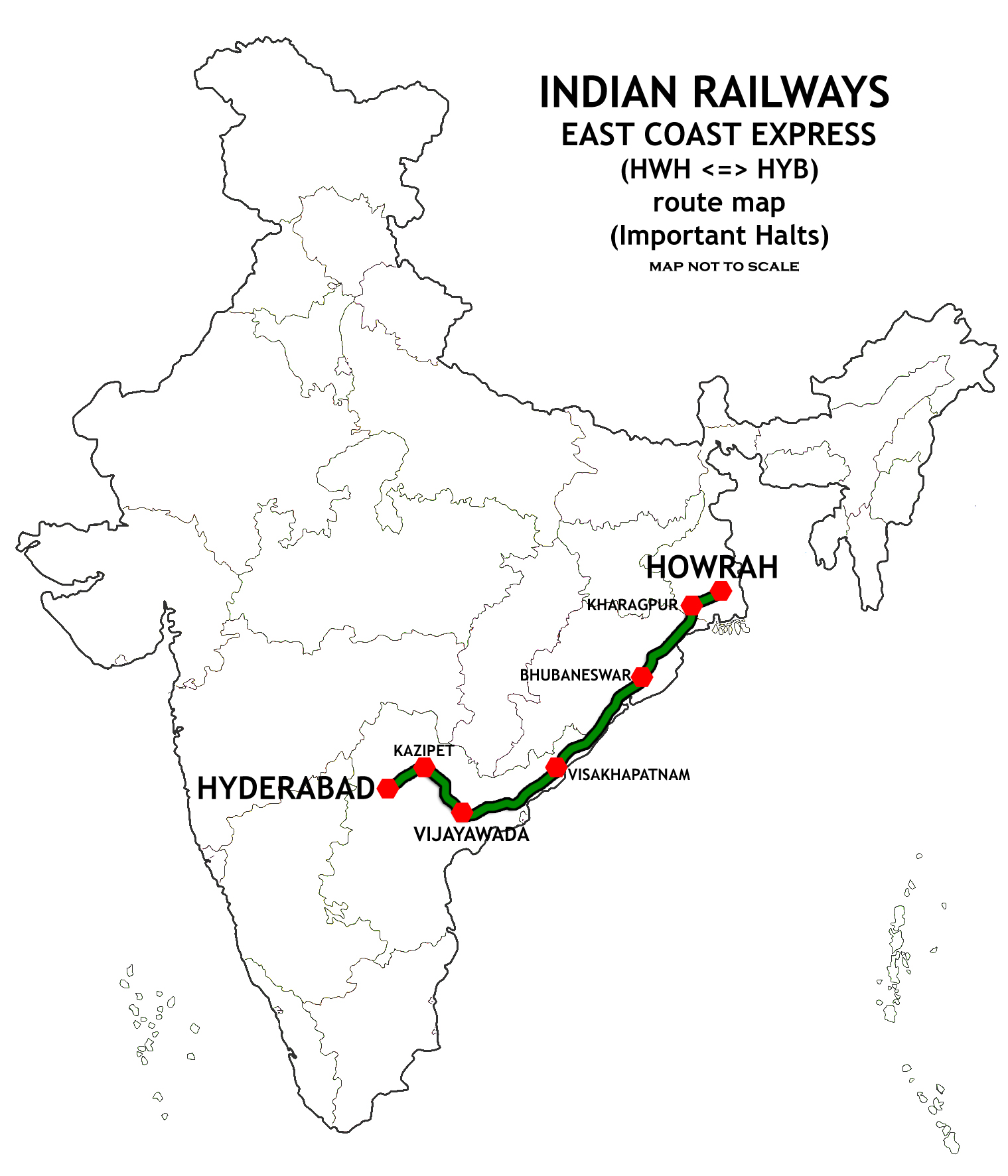 File East Coast Express India Route Map