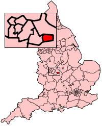 Map of England highlighting the location of Co...