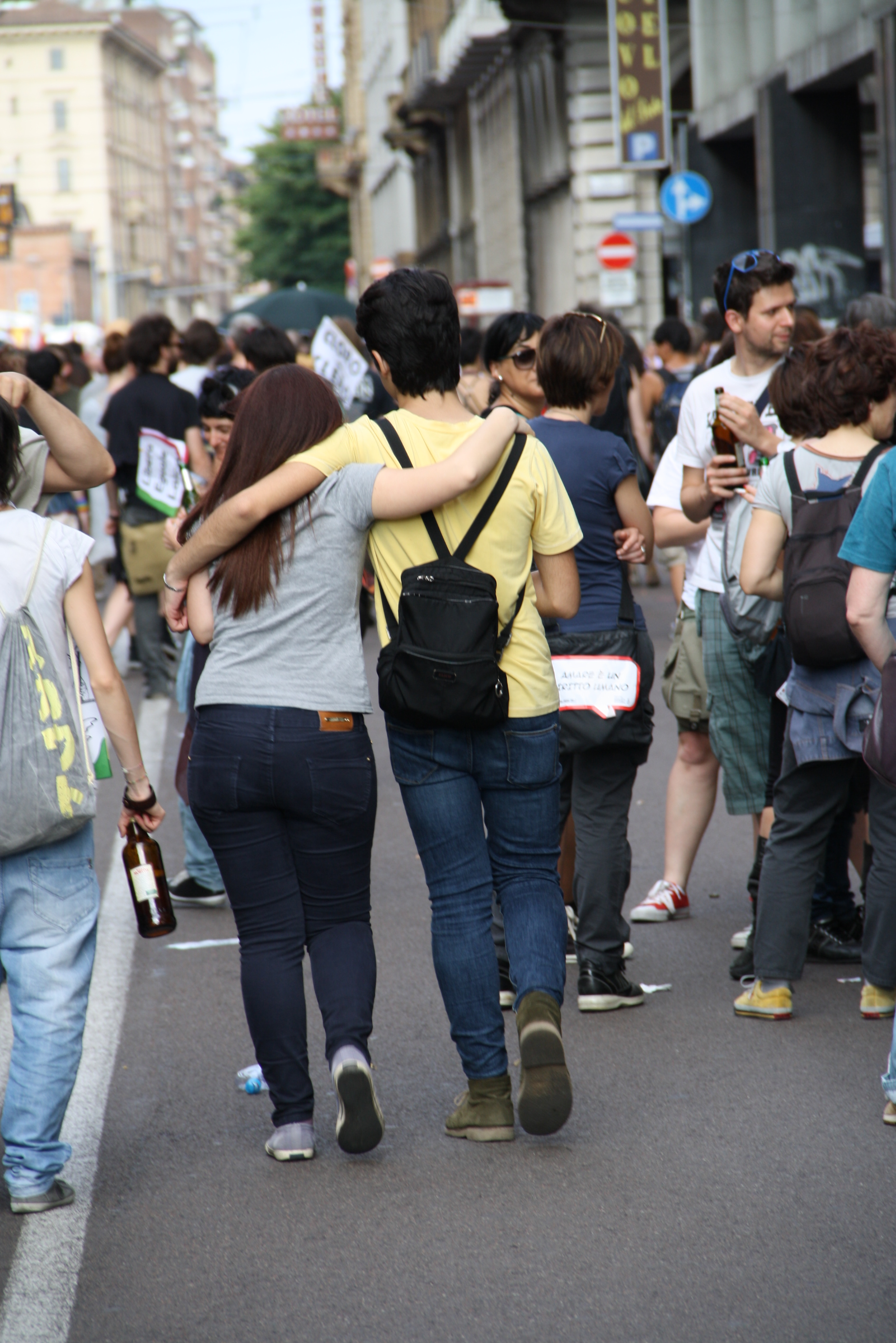 "Couple behaving naturally, not ""flaunting"", at Bologna Pride. Photo by Giovanni Dall'Orto"