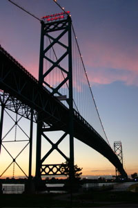 A self taken shot of the Ambassador bridge on ...