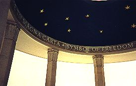 Detail of ceiling of the Magna Carta Memorial, Runnymede - Wikimedia image